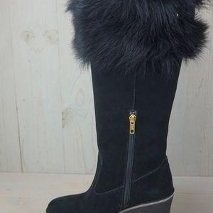 UGG Shoes - UGG VALBERG BLACK SUEDE TOSCANA FUR WEDGE BOOTS